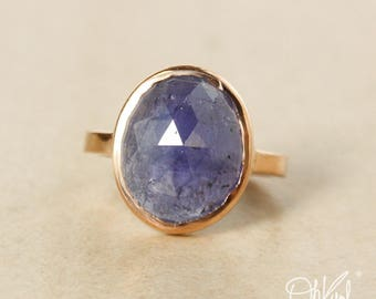 Rose Gold Blue Iolite Ring - Rose Cut Blue Iolite - Statement Ring