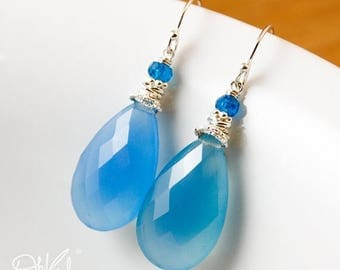 ON SALE Glowing Sky Blue Chalcedony Teardrop Earrings - Apatite Bead - Something Blue