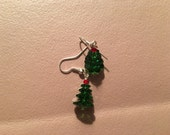 Earrings, dangle, beaded, red and green Christmas Tree on sterling silver hooks.