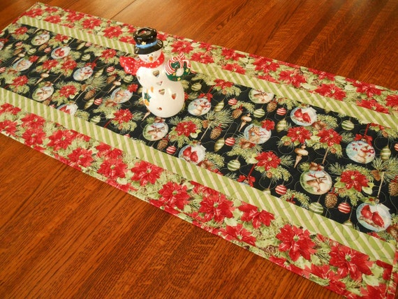 Quilted Christmas Table Runner with Poinsettias and Ornaments, Owls Cardinals Reindeer and Snowmen, Woodland Christmas Decor, Red and Green