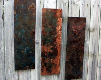 Copper Wall Art. Copper Patina Art. Copper Trio Wall Art. Copper Wall Decor. Metal Wall Art. Metal Art. 9w x 30l. Clear Coat Finish