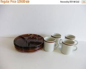 ON SALE Vintage Luncheon Snack Plates, japan plates and cups, brown stoneware, lunch plates, dinner trays, party plates, cups and mugs
