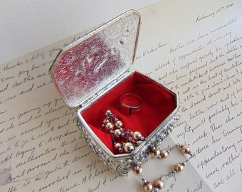 Vintage Red Velveteen Lined Metal Trinket Jewelry Box Bird Roses Design 1960s