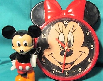 Vintage Hard Plastic Standing Mickey and Minnie Mouse Clock by Lorus, Disney Minnie and Mickey, China Made Clock & Standing Leaning Mickey