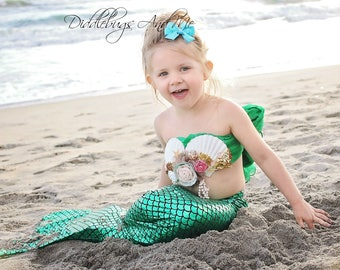 Mermaid Pinwheel Bow, Girls Turquoise Hair Bow, Mermaid Tail Hair Bow, Beach Hair Bow, Toddler's Hair Bow, Party Favors, Piggy Tail Bows
