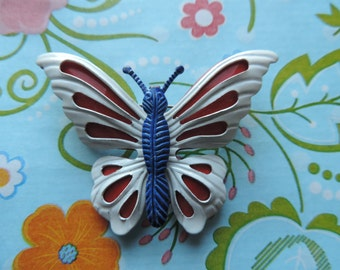 vintage butterfly brooch 60s enamel red white and blue insect pin mod vintage jewelry