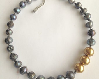 Pearls, Grey, Gold, Statement, Wedding, Classy,  Gray