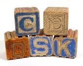Small Alphabet / Animal Wooden Blocks Vintage Childrens Interlocking Building Blocks