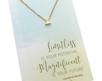 Tiny Triangle Necklace, Graduation Necklace, motivational jewelry, High school graduation, college graduation, new job gift, inspiring gifts
