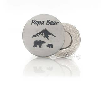 Papa Bear Golf Ball Marker Gift Papa Bear Gift for Papa Bear to Stainless Steel Father's Day Gift Birthday Gift Christmas Gift For Dad
