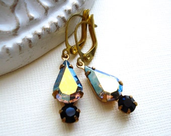 Black Diamond Earrings, Aurora Borealis Vintage Swarovski Rhinestone Earrings, OOAK, Gift For Her, Double Stone Setting Lever Back Earrings