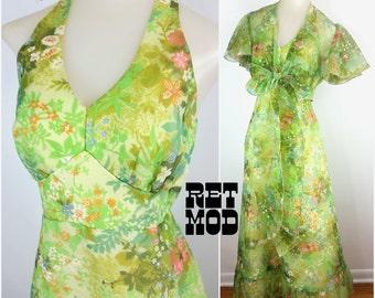 BEAUTIFULLLL Vintage 60s 70s Bright Green Floral Wonderland Flutter Halter Maxi Dress with Matching Cape!