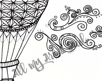 Adult Coloring Page - Hot Air Balloon - Instant Download - Zentangle - Doodle Illustration - DailyDoodler - Hot Air Balloon Illustration