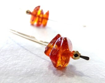 Amber Earrings, Natural Amber Earrings, Gold Earrings, Baltic Amber Earrings, Long Earrings, Long Gold Earrings - Amber Sun