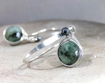 Emerald Earrings, Natural Emerald Earrings, Sterling Silver, Emerald Gemstone, Green Earrings, May Birthstone Earrings, Petite - Jardin