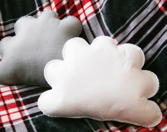 Set of two 35cm Cloud Cushions, Grey Cloud, White Cloud, Cloud Pillow, Home Decor, Gift for Child, Girls Room, Baby Nursery Decor, Kids Room