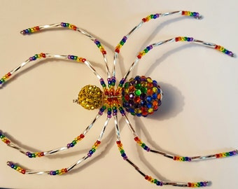 Rainbow Rhinestone Christmas Spider Ornament