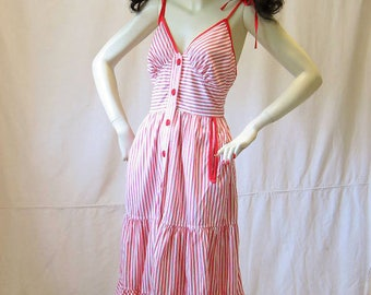 Vintage 70s Shoulder Tie Sun Dress 34 bust 27 waist Sundress 1970s Red White Stripe Young Edwardian Arpeja Cotton