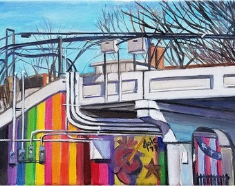 Plein Air Painting of the Chicago CTA Bridge - 12x9in Original Oil Painting