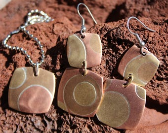 Marriage of Metals copper, brass, bronze, silver pendant and earrings set, hand forged