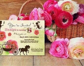 Victorian Garden - Cinderella - Carriage - Faery - Fairies - Summer Garden Invitation - Printed with Envelope