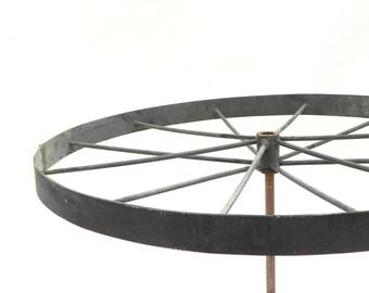 "Vintage 12 spoke Metal Wagon Wheel Industrial Lamp Part Steampunk Repurpose 19-1/4""W #1"