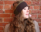 RESERVED Earth tones patchwork cashmere beanie-  and cuaton beanie slouchy hat- unisex hat- skull cap- earth tones- cashmere hat- recycled s
