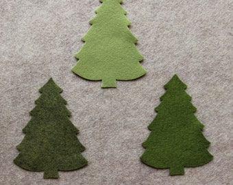 Greensleeves - Large Christmas Trees #2 - 12 Die Cut Wool Blend Felt Shapes
