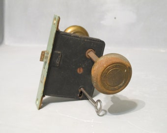 Vintage Door Lock Set / Antique Mortise Lock Rusty Brass Knobs Steel Skeleton Key Salvage Reuse Restoration Rustic Hardware Industrial Decor