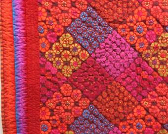 Hand quilted lap quilt throw quilt, original design using Kaffe Fassett fabric, red floral quilt