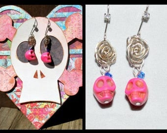 Pink Skull Earrings with Greeting Card Handmade Silver Flowers and Heart Anniversary/Valentine's Day/Birthday Gift Ready to Give