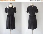 30%OFF ... ends 03.08 ... Pétunia dress | Black viscose dress with floral lace appliqués over shoulders | 1940's by cubevintage | small