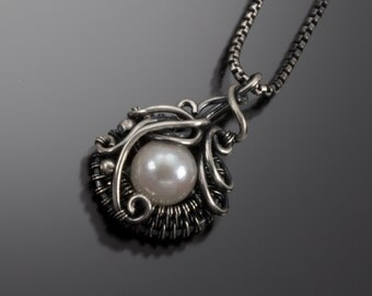 Saltwater Akoya Pearl and Fine Silver Pendant - June Birthstone Pendant - Ocean's Breath