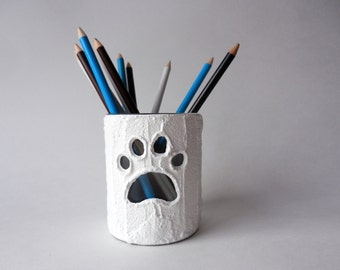 Pet loss gift / paw print /dog memorial gift / loss of dog / remembrance gift / pet lover / dog lover / votive candle holder / pencil cup