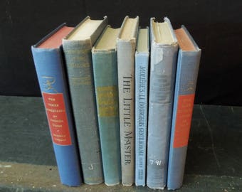 Rustic Book Collection - Blue Grey Book Set - Instant Library - Blue Book Stack