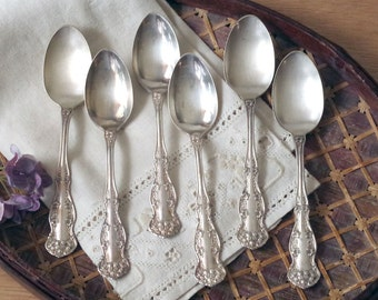 Vintage Silver Teaspoons 1900 CHESTER Pattern Silverplate Flatware Set of Six