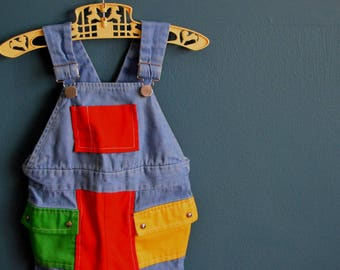 Vintage 1980s Chambray and Color Block Shortalls - Size 9 or 12 Months