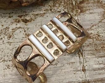 Scorpio Birthday SALE Beautiful Mexican Mid Century Modernist Sterling Silver White MOP Vintage Cuff Bracelet