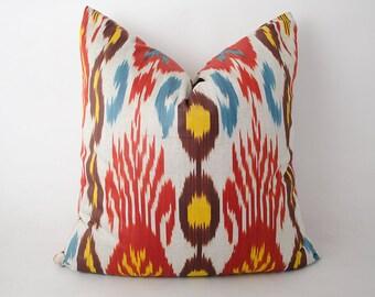 18x18 red ikat pillow cover, ikats, ikat cushion, uzbek ikat, sofa pillow, accent pillow, decorative pillow, red, yellow pillow red cushion