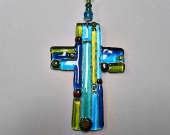 Fused Glass Cross Suncatcher , ornament, Easter decor