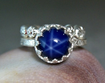 Blue Star Sapphire Stacking Set, Sterling Silver Lab Sapphire Ring, Alternative Engagement Ring