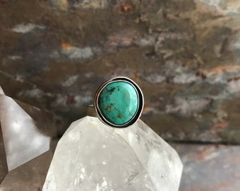 Turquoise ring , sterling silver turquoise ring , double bezel turquoise ring , size 6