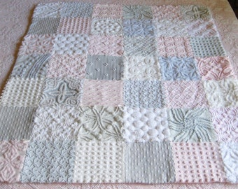 Custom - Boutique Quality Vintage Chenille  Baby Quilt - Clouds of Pink and Grey