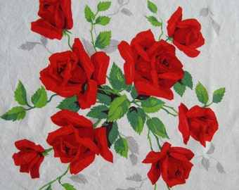 """Vintage Wilendur Royal Red Roses Tablecloth Fabric 17"""" x 17"""""""