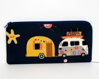 Zip Bag, Happy Camper, Love Bus, Trailer, Navy Blue Zippered Pencil Pouch