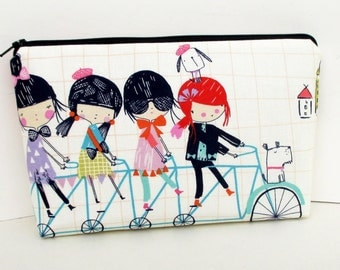 Make Up Bag, Cosmetic Zipper Pouch, Bicycle Built for 4, Alexander Henry Fabric