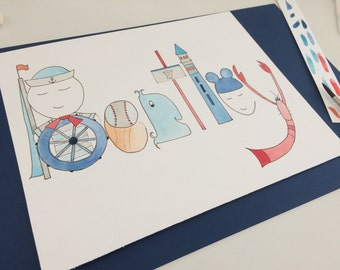 Original Watercolor Name Art, Custom Name Painting, Personalized Nursery Decor, Nautical, Sailor, Whale, lobster, Illustration, Baby Room