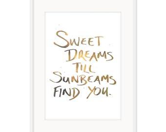 Dreams & Sunbeams – A3 Gold Foil Poster