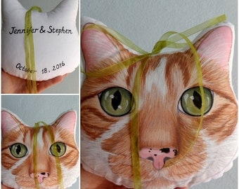 Wedding Pillow, Custom Pet Portrait Plush Pillow, Personalized pet pillows, cat pillow, dog pillow,gift for pet lovers,