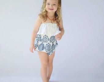 Organic Cotton Blue Medallion Baby Girl Ruffle Bubble Romper - Strapless Navy Blue Geometric Circles Bubble